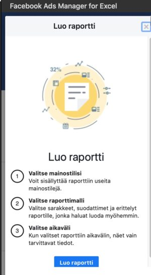 facebook ads manager for excel luo raportti